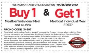 Boston Market coupon for a free meatloaf meal