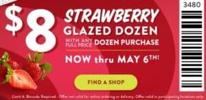 Krispy Kreme coupon for a strawberry glazed dozen doughnuts