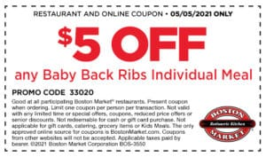 Boston Market coupon $5 off of baby back ribs