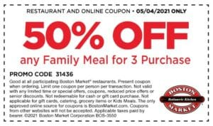 Boston Market Coupon that has 50% off of family meal