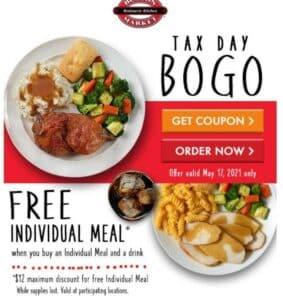 Boston Market tax day BOGO