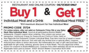 Boston Market coupon for a tax day BOGO mean