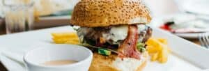 Burger, fries and soups