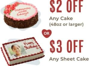 Carvel coupon for cakes