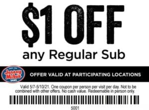 Jersey Mike's Coupon $1 off of subs