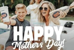happy mother day from jersey mike's with a jersey mike's drink and a sub