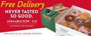 Krispy Kreme free delivery with coffee and doughnuts