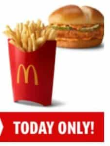 McDonald's french fries and chicken sandwich