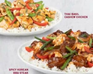 Steak and rice and chicken and rice entrees