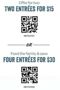 Rubios Coastal Grill coupon for two or four entrees