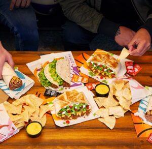 Crunchy tacos, nacho sauce, beef burritos